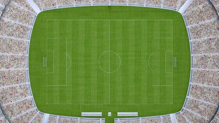 football field with fans top view. 3d rendering