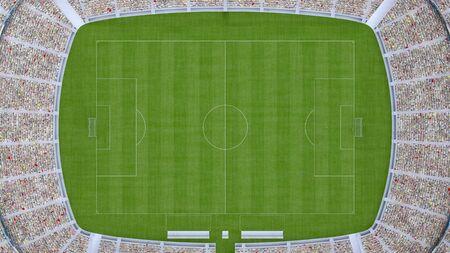 terrain de football avec vue de dessus des fans. rendu 3D