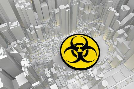 biohazard symbol in abstract city. 3d rendering