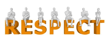 people sit applauding in letters respect. 3d rendering
