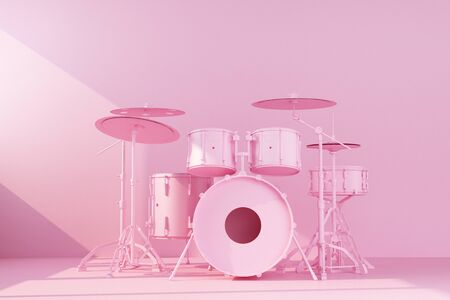 pink drum kit on concrete wall background. 3d rendering