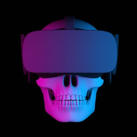 human skull in virtual reality helmet on black background. 3d rendering Banque d'images