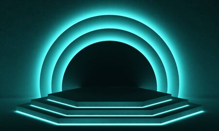 pastel stage podium with semicircular segments in backlit colors. 3d rendering