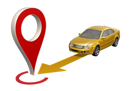 Yellow car rides to the point pin map. 3d rendering