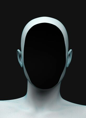 Head of human with black void instead of face.