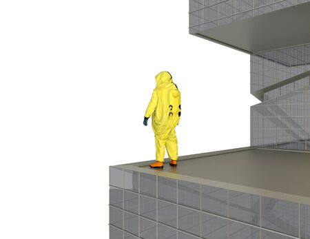 man in yellow chemical protective suit standing on the edge of modern building on white background. 3d rendering