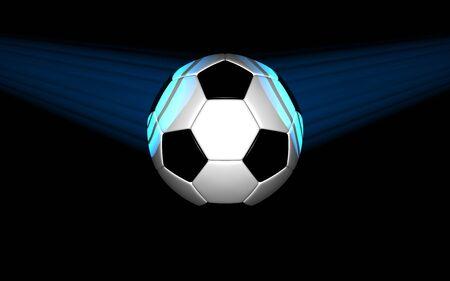 soccer ball lit by light on black background. 3d rendering