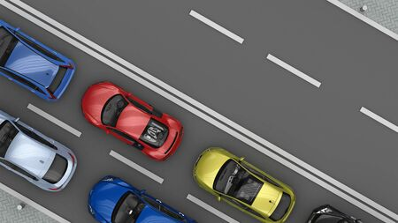 road with traffic cars and free lane top view. 3d rendering