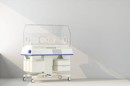 Incubator for newborns is lit by ray of sunlight.