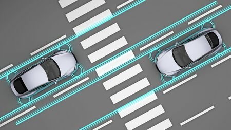 cars with sensors in front of pedestrian crossing top view. 3d rendering