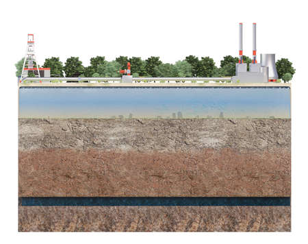 cut of layers of earth with water with industry. 3d rendering 写真素材