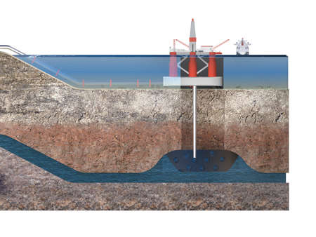 cut of layers of earth with water with sea platform mining industry. 3d rendering