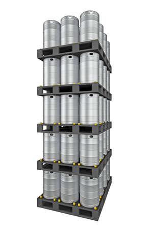group of metal kegs isolated on white. 3d rendering
