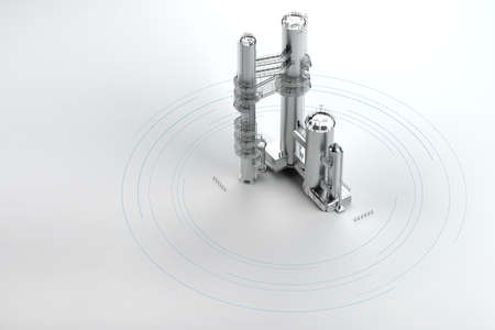 silver industrial structure on light background above view. 3d rendering