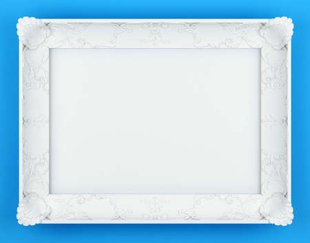 white bas-relief picture frame front view. 3d rendering