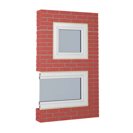 number 9 made of bricks and fragment of window isolated on white. 3d rendering