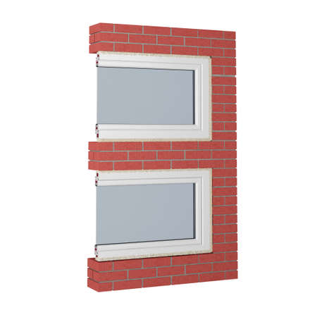 number 3 made of bricks and fragment of window isolated on white. 3d rendering