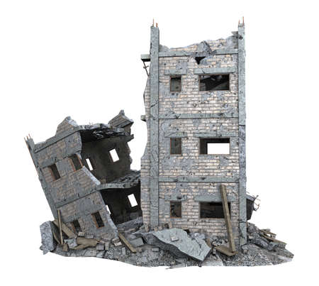 ruined low rise building isolated on white. 3d rendering