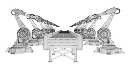 row of wireframe robotic arms with conveyor belt isolated on white. 3d rendering