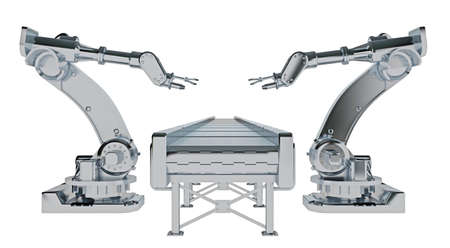 row of robotic arms with conveyor belt isolated on white. 3d rendering Reklamní fotografie