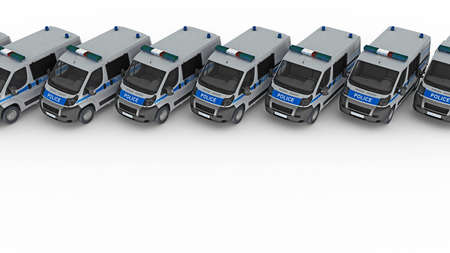 row of police cars with copy space. 3d rendering