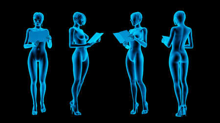 secretary woman in x-ray from different angles. 3d rendering