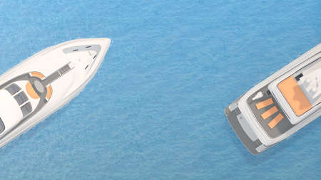 front and stern of the yacht top view. 3d rendering