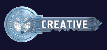 concept key with mechanism with text creative. 3d rendering