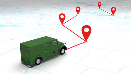 concept money armor van route on the map. 3d rendering 免版税图像