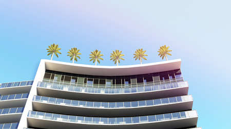 bottom view of the semicircle of building with palm trees on the roof. 3d rendering