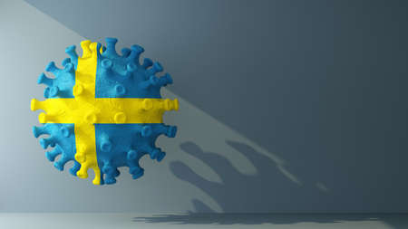 Sweden on covid-19 virus with copy space. 3d rendering