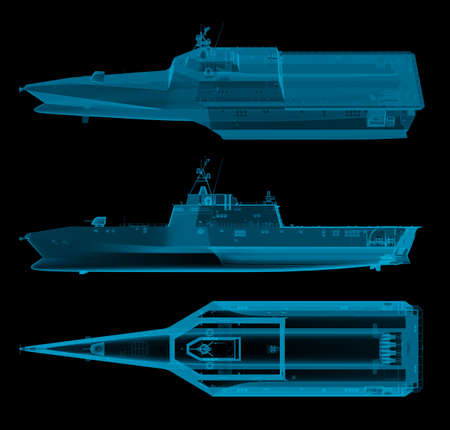 warship in x-ray top and side view. 3d rendering