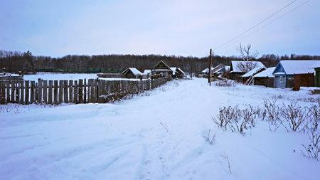 abandoned village landscape in winter