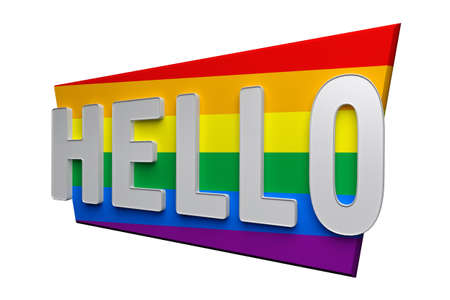 hello text on lgbt flag isolated on white. 3d rendering 免版税图像