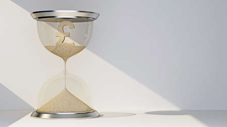 pound currency symbol concept flowing away in hourglass. 3d rendering