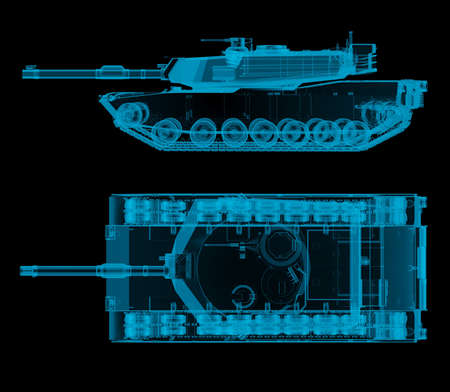 military tank top and side view in x-ray. 3d rendering