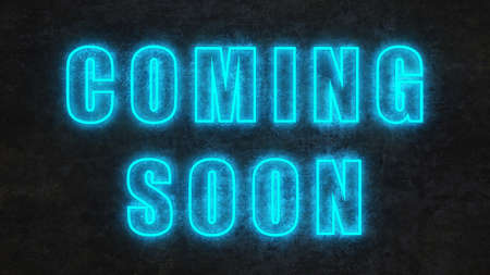neon text coming soon on black concrete wall. 3d rendering