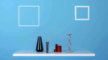 shelf with candles vase and picture frames. 3d rendering