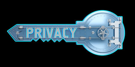 safe key concept with text privacy. 3d rendering 免版税图像