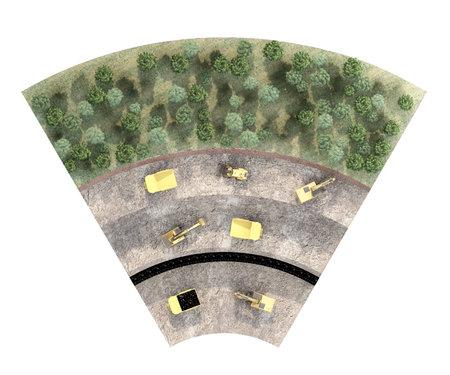 part of ground cut of coal mining equipment top view. 3d rendering 免版税图像