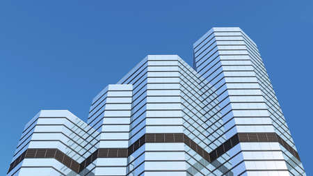rising levels of the top of the skyscraper. 3d rendering