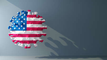 USA on covid-19 virus with copy space. 3d rendering