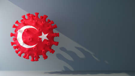 turkey flag on covid-19 virus with copy space. 3d rendering 免版税图像