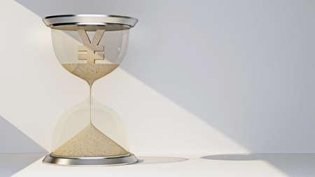yen currency symbol concept flowing away in hourglass. 3d rendering