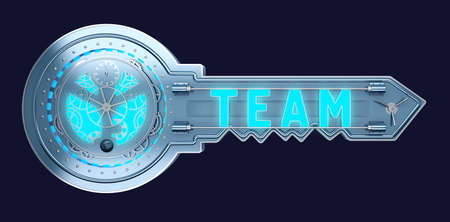 concept key with mechanism with text team. 3d rendering