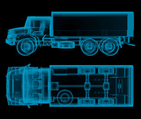 military truck x-ray top and side view. 3d rendering