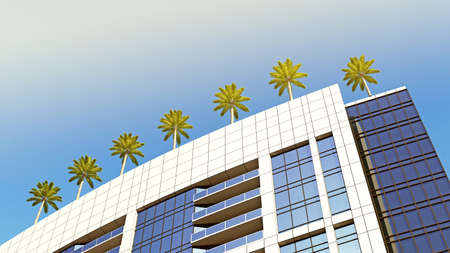 bottom view of the corner of a building with palm trees on the roof. 3d rendering