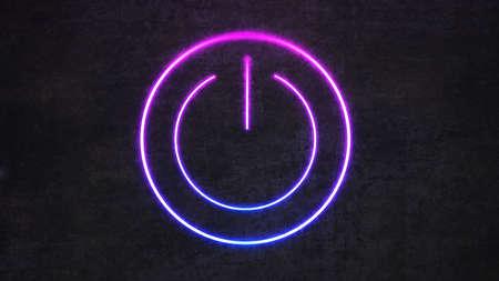 neon switch sign on black concrete wall. 3d rendering 免版税图像