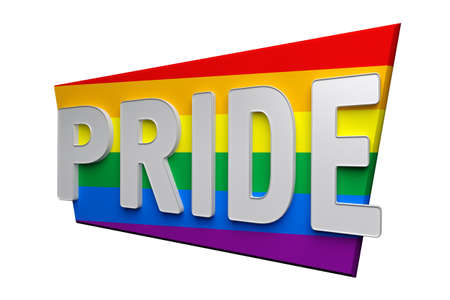 pride word on lgbt flag isolated on white. 3d rendering