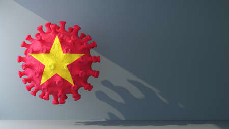 Vietnam on covid-19 virus with copy space. 3d rendering